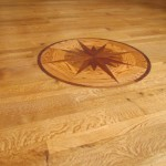 3in-5in-7in Quarter Sawn White Oak with Oil Finish - Medallion Inlay