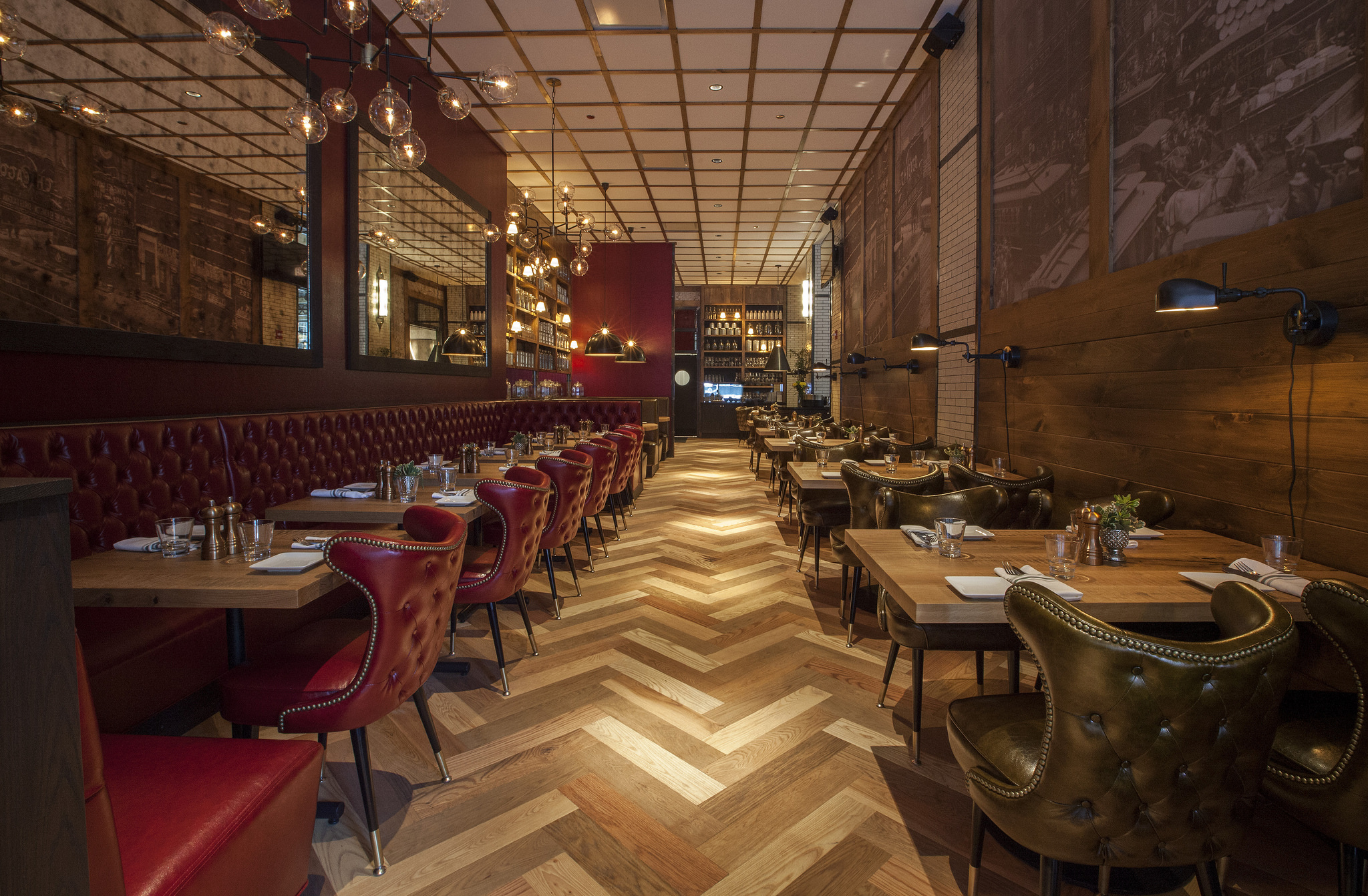 Mixed hardwood Herringbone flooring – The Dearborn Chicago, IL