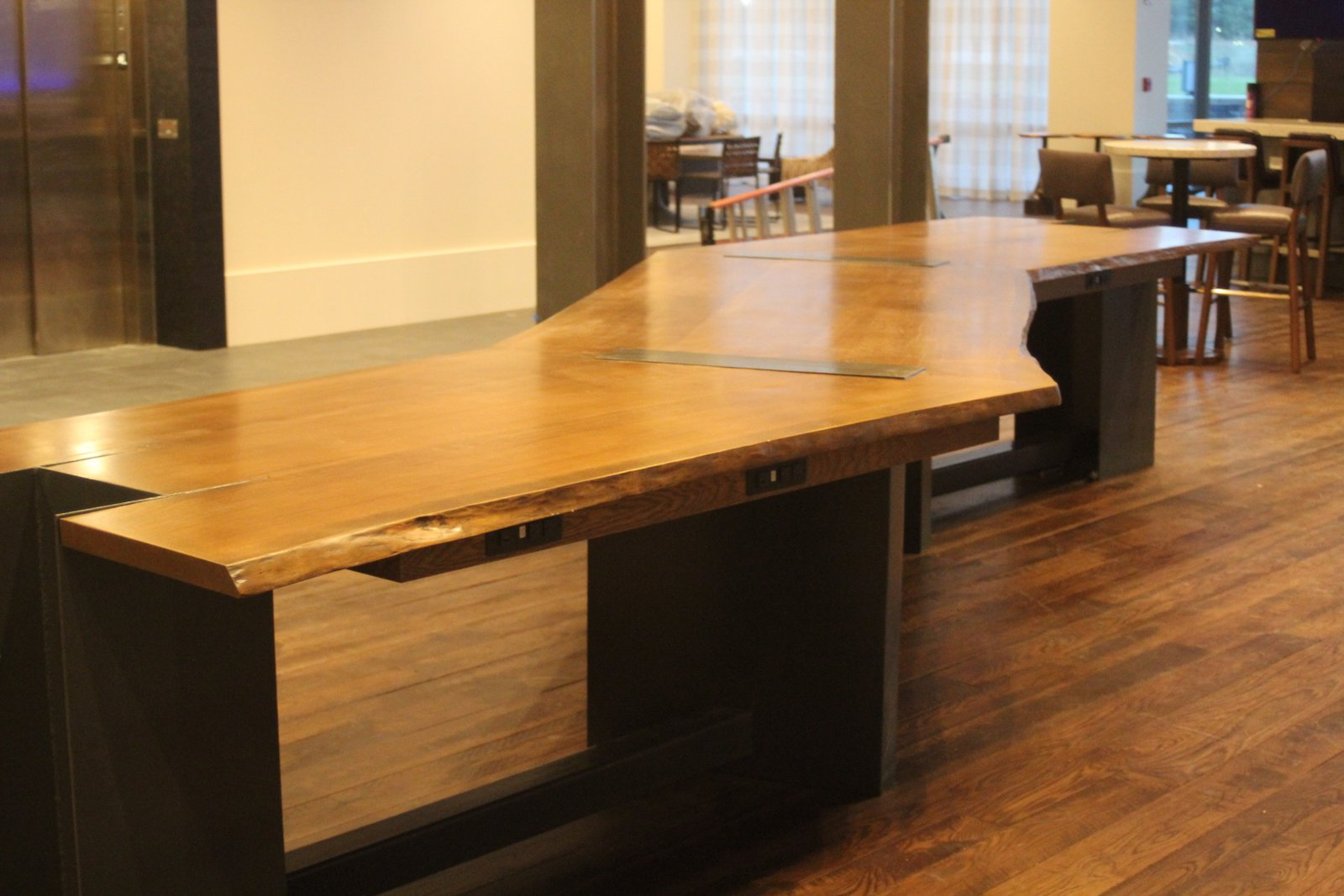 Live Edge and Steel communal Table with Technology Ports