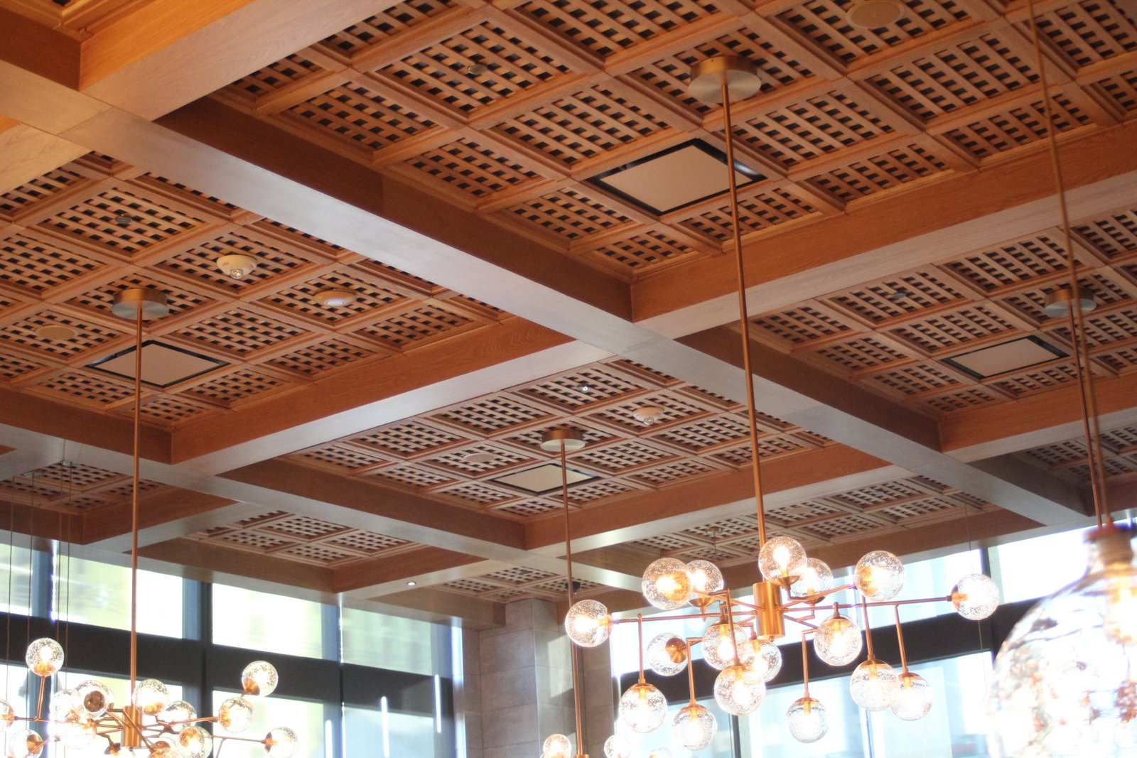 Lattice Ceiling with Acoustical Backing
